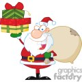Santa-Holding-Up-A-Stack-Of-Gifts