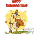 Happy-Thanksgiving-Greeting-With-Turkey-With-Pilgrim-Hat-and-Musket