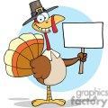 3525-Happy-Turkey-With-Pilgrim-Hat-Holding-A-Blank-Sign vector clip art image
