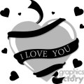 black and gray heart with an i love you ribbon  gif, png, jpg, eps, svg, pdf