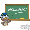 4312-Owl-Teacher-Cartoon-Character-With-Graduate-Cap-In-Front-Of-School-Chalk-Board