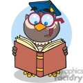 4309-Owl-Teacher-Cartoon-Character-With-Graduate-Cap-Reading-A-Book