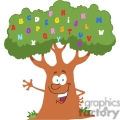 a green and brown tree with colorful alphabet letters