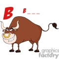 4365-Bull-Cartoon-Character-With-Letter-B