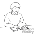 black and white outline of a student reading a book