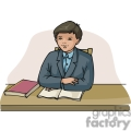Cartoon student sitting at a desk with books