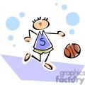 Whimsical cartoon of a boy dribbling a basketball