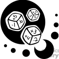 black and white math game dice
