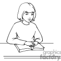 black and white outline of girl sitting with a book open