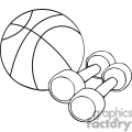 black and white outline of a basketball and weights