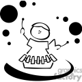black and white outline of a child playing a xylophone