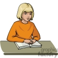 cartoon girl sitting at a desk