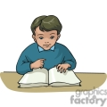 Cartoon boy learning to read