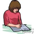 Cartoon girl taking notes