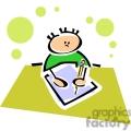 Cartoon boy sitting at a desk writing