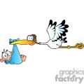 stork carrying a newborn