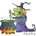 cartoon witch brewing some magic
