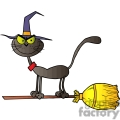 black cat riding on a witch broom