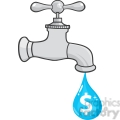 12879 RF Clipart Illustration Water Faucet With Dollar Dripping
