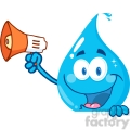 12869 RF Clipart Illustration Smiling Water Drop Holding Up A Megaphone Over A Sign
