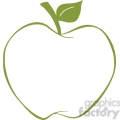 12920 RF Clipart Illustration Apple With Green Outline