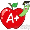 4946-Clipart-Illustration-of-Happy-Worm-In-Red-Apple-With-Graduate-Cap,Glasses-And-Leter-A-Plus