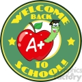 4952-Clipart-Illustration-of-Happy-Student-Worm-In-Red-Apple-And-Sticker-With-Text-Back-to-School