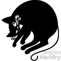 vector clip art illustration of black cat 035