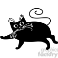 vector clip art illustration of black cat 078