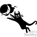 vector clip art illustration of black cat 026