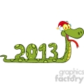 5119-Funny-Snake-Cartoon-Character-Showing-Numbers-2013-With-Santa-Hat-Royalty-Free-RF-Clipart-Image