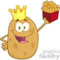 5182-Potato-With-Crown-Holding-Up-A-French-Fries-Royalty-Free-RF-Clipart-Image
