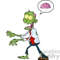 5078-Cartoon-Zombie-Walking-With-Hands-In-Front-And-Speech-Bubble-With-Brain-Royalty-Free-RF-Clipart-Image