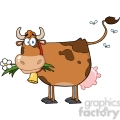 brown-dairy-cow-with-flower-in-mouth  gif, png, jpg, eps, svg, pdf