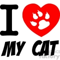 I Love My Cat Text With Red Heart And Paw Print