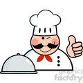 Royalty Free RF Clipart Winked Chef Logo With Platter Showing Thumbs Up