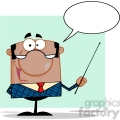 Clipart of African American Business Manager Gesturing With A Pointer Stick And Speech Bubble
