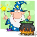RF Funny Wizard Waving With Magic Wand And Preparing A Potion