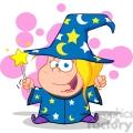Royalty Free Happy Wizard Girl Waving With Magic Wand
