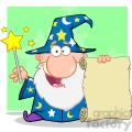 RF Funny Wizard Waving With Magic Wand And Holding Up A Scroll