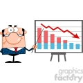 Clipart of Angry Business Manager With Pointer Presenting A Falling Chart