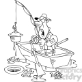 black and white cartoon fishing character finding junk