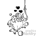 black and white cartoon fish with worm on a hook  gif, png, jpg, eps, svg, pdf