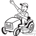 black and white farmer riding tractor mower