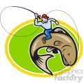 fly fisherman riding a trout fish  gif, png, jpg, eps, svg, pdf