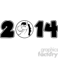 5669 Royalty Free Clip Art 2014 Year Cartoon Numbers With Horse Face Over A Circle