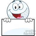 5717 Royalty Free Clip Art Happy Golf Ball Cartoon Character Over Sign