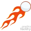 5692 Royalty Free Clip Art Flaming Golf Ball