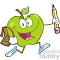 5803 Royalty Free Clip Art Happy Green Apple Character With School Bag And Pencil Goes To School