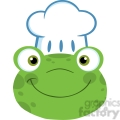 5653 royalty free clip art cute frog smiling head with chef hat  gif, png, jpg, eps, svg, pdf